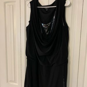 Black plus sized cocktail dress with sequins